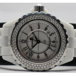 Chanel J12 H0967 Ceramic White Dial Diamond Bezel