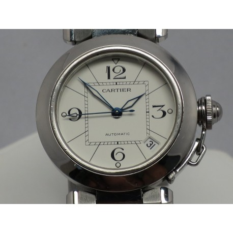 Cartier Pasha C 2324 White Blue Steel Hands Quick Set 35mm