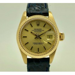 Rolex Lady-Datejust 6917 26mm Yellow Dial/All 18kt/Crocodile 1977