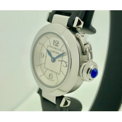 Cartier Pasha Quartz 2973 27mm White Dial/Blue Markers/Crown - Steel